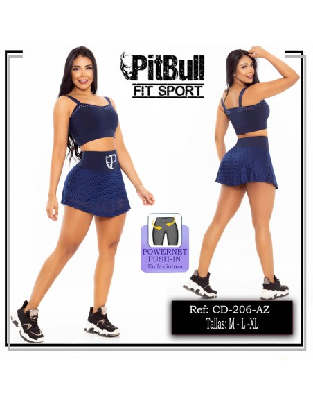 conjunto deportivo falda short pitbull azul cd206