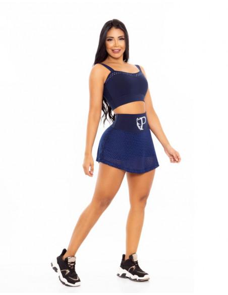conjunto deportivo falda short pitbull azul delantera cd206